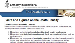 Amnesty: Facts about the Death Penalty