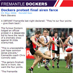 Dockers protest final siren farce