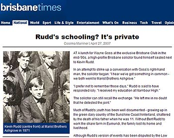 Why does Kevin Rudd gloss over his Catholic school days?