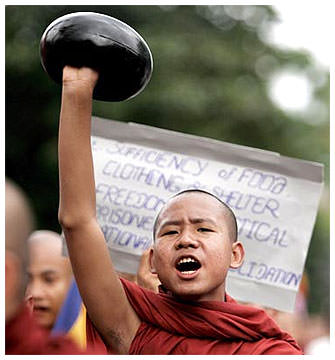 Burma monks protest