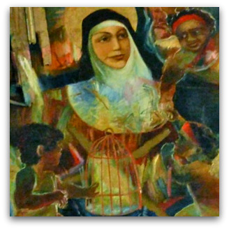 Mary MacKillop with Aboriginal children painting