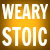 Text: Weary stoic, white on off-yellow background
