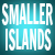 Smaller Islands, white text on aqua background