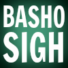 Basho Sigh, white text on dark green background