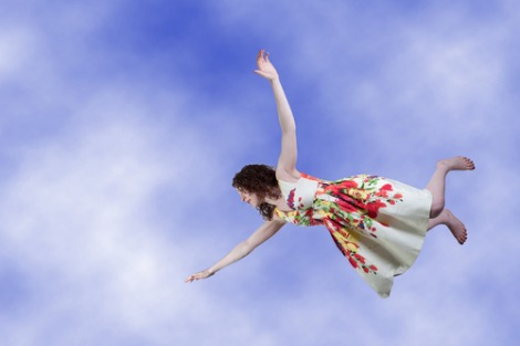 Woman falling from sky