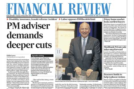 AFR headline 'PM advisor demands deep cuts'