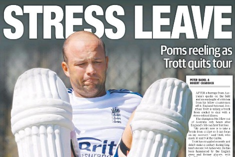 English batsman Jonathan Trott from back page of the Daily Telegraph