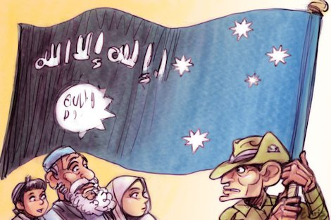 Tony Abbott holding ISIS/Australian flag before dismayed Muslims