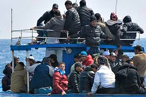 Migrants seeking refuge in Lampedusa