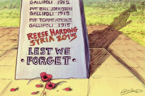 Reece Harding 'Lest we Forget' illustration by Chris Johnston