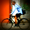 Helmetless Berlin cyclist