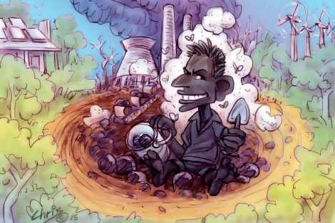 Tony Abbott covered in coal