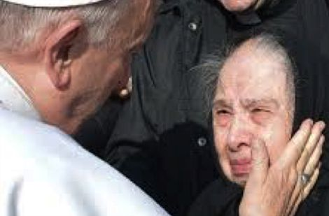 Pope Francis with elderly lady