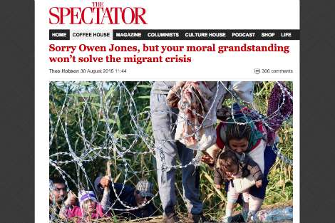 The Spectator: 'Sorry ... but your moral grandstanding won't solve the migrant crisis'