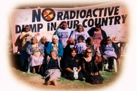 Protestors with banner No Radioactive Dump In Our Country