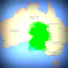 Map of Australia with green blotch spreading from South Australia to other states