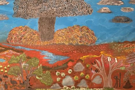 Maralinga Painting, by artists Mima Smart, Tjunkuna Rita Bryant and others