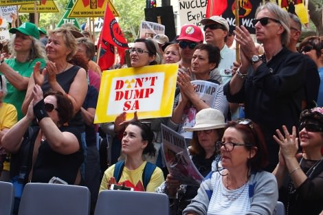 National Day of Action Rally, No Dumps, Parliament House Adelaide, October 2016 (Kath Whitta)