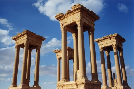 The Tetrapylon, one of the most famous monuments in the ancient city of Palmyra, before it was destroyed by Islamic State group militants.