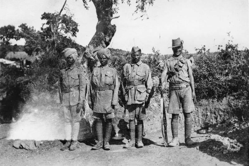 Three Indian troops and a Gurkha (far right) at Walden Grove, Gallipoli Peninsula, April 25, 1915. (Australian War Memorial)