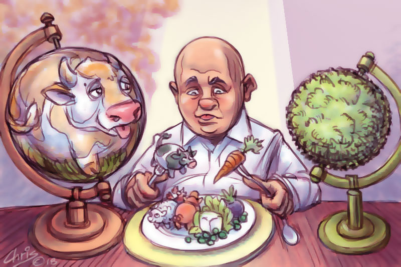 Chris Johnston cartoon contrasts a fat, bloated meat-eating world with a trim, lush and green 'vegan' world
