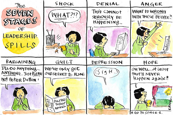 Woman goes through the Seven Stages of Political Spills. Cartoon by Fiona Katauskas