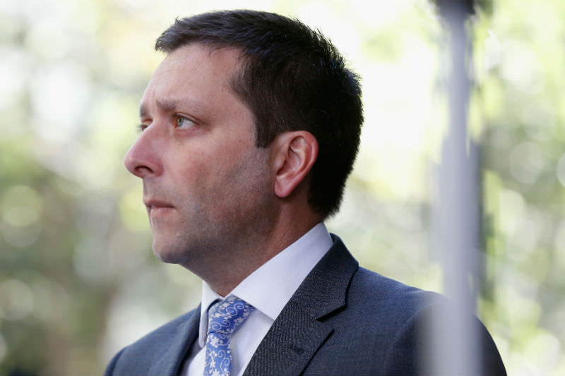 Victorian opposition leader Matthew Guy in Burke Street (Darrian Traynor/Getty Images)