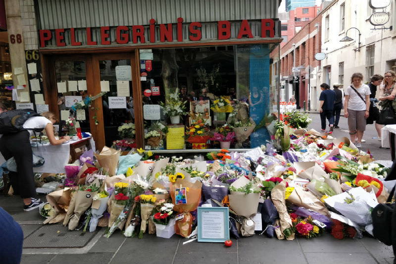 Floral tribute outside Pellegrini's bar