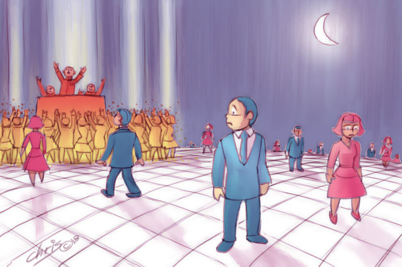 Cartoon of lonely people looking lost and flocking to demagogues. By Chris Johnston
