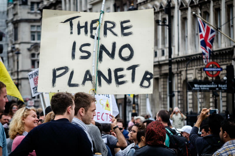 Climate protest in London, sign reading There is no Planet B (Garry Knight/Flickr)