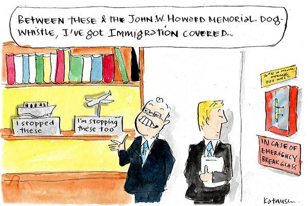 Scott Morrison admires his boat and plane trophies, he's got immigration covered. Cartoon by Fiona Katauskas