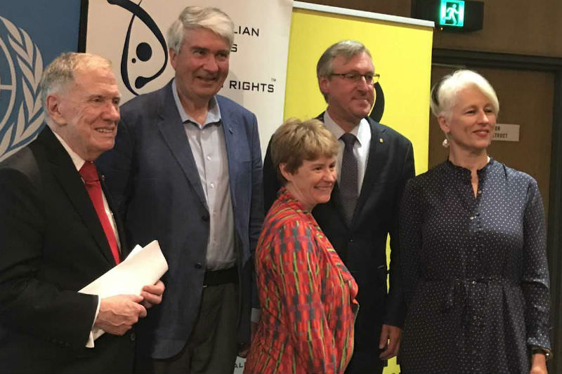 Frank Brennan (second from left) with (from left) with the Hon. Michael Kirby AC CMG; Claire Mallinson, National Director, Amnesty International Australia; Thomas Albrecht, UNHCR Regional Rep; and broadcaster Genevieve Jacobs following a forum at the National Library celebrating the 70th anniversary of the UN Declaration of Human Rights.