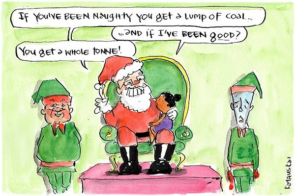 Scott Morrison dressed as Sant promising a lump of coal to a child if they've been naughty, or a tonne of coal if they've been good. Cartoon by Fiona Katauskas