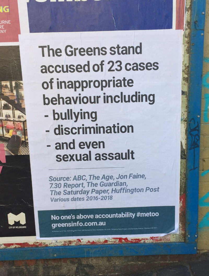 Labor poster demanding Greens' accountability