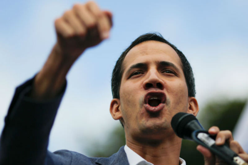 Juan Guaidó delivers a speech during a demonstration on 26 January 2019 in Caracas, Venezuela (Marco Bello/Getty Images)