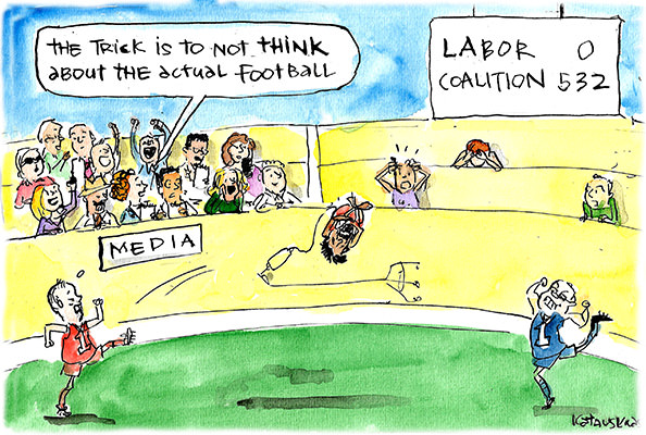 Media cheer as politicians kick an asylum seeker around like a football. Cartoon by Fiona Katauskas