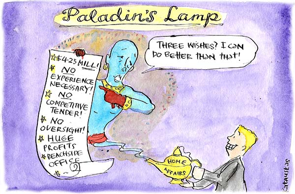 Peter Dutton as a genie emerges from 'Paladin's Lamp' with a list promising $4.23 Mill, No Experience Necessary, No Oversight etc. Cartoon by Fiona Katauskas