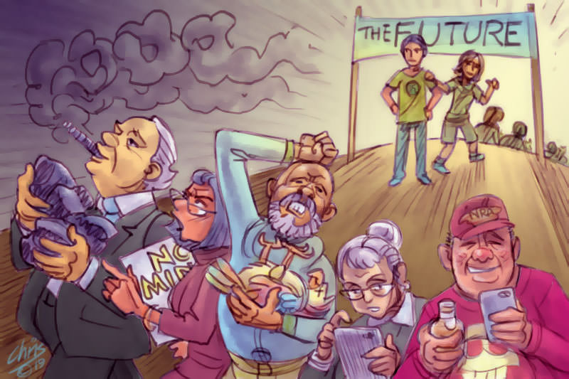 Chris Johnston cartoon shows young people walking away from Baby Boomers towards 'the future'