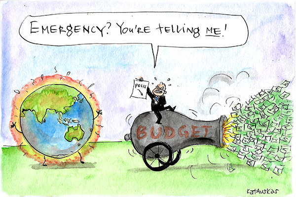 Scott Morrison fires money from a canon labelled 'budget'. The canon is pointed away from a heated world globe. He holds up a sheet showing declining poll numbers and tells the earth 'Emergency? You're telling me!' Cartoon by Fiona Katauskas