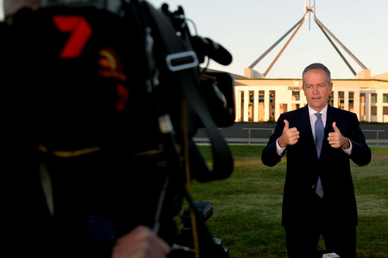Opposition Leader Bill Shorten prepares for a television interview following the 2019 budget announcement. (Photo by Tracey Nearmy/Getty Images)