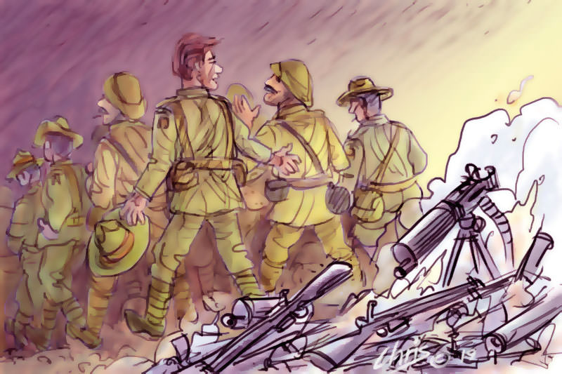 New Zealand soldiers walk away from abandoned guns. Cartoon by Chris Johnston