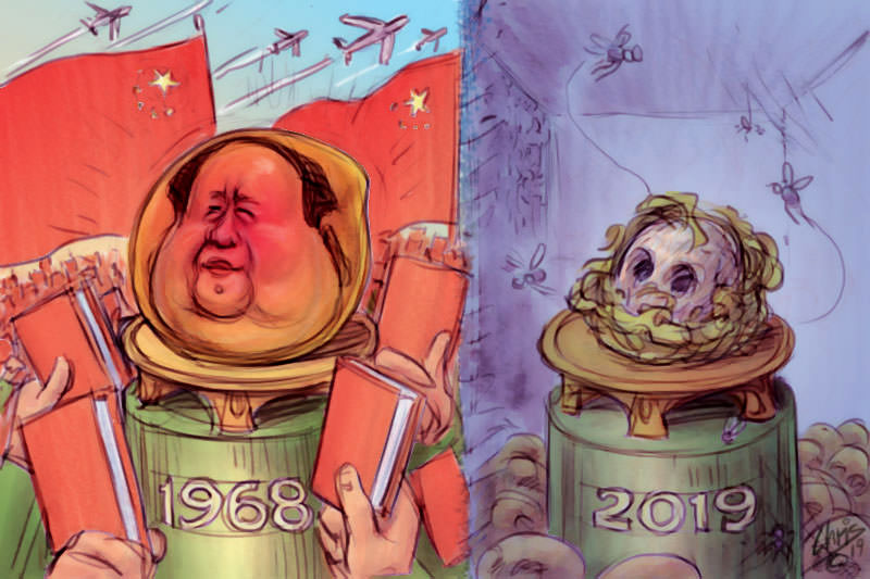 Chris Johnston cartoon shows Mao's head has a mango, and later rotten and decayed.