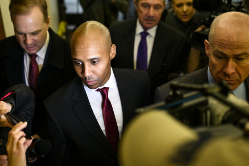 Former Minneapolis police officer Mohamed Noor in 2017 at the commencement of his trial for the shooting death of Justine Damond (Photo by Stephen Maturen / Getty Images)