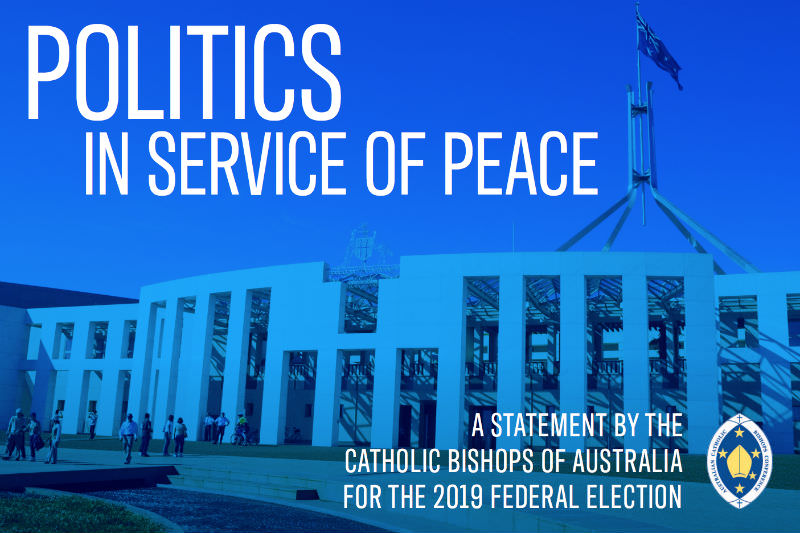 Cover image from the Australian Catholic Bishops' statement on the upcoming federal election, 'Politics in Service of Peace' depicts Parliament House in Canberra with a blue filter.
