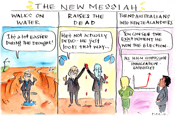 In this Fiona Katauskas cartoon titled 'The New Messiah', Scott Morrison 'walks on water' by standing in a puddle in a drought-riven landscape, and 'raises the dead' in the form of a pasty-faced Peter Dutton.