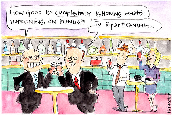 Fiona Katauskas campaign has Scott Morrison and Anthony Albanese in a bar, toasting 'bipartisanship' as they 'completely ignore what's happening on Manus'.