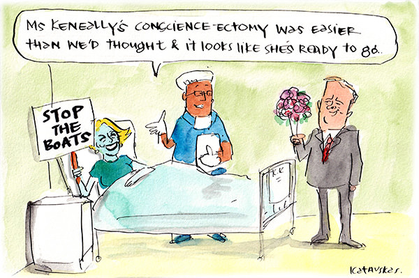 Fiona Katauskas shows a blue-skinned Kristina Keneally like figure in a hospital bed holding a sing that reads 'stop the boats'. A doctor tells Anthony Albanese that Keneally's conscience-ectomy was successful.