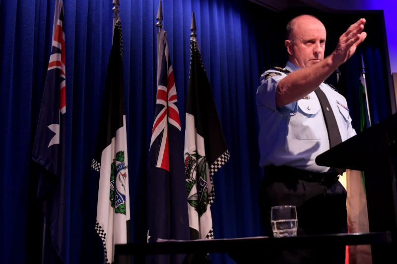 Acting AFP Commissioner Neil Gaughan speaks to the media on 6 June 2019 in Canberra following the raids on the home of News Corp journalist Annika Smethurst and on the ABC's head offices in Sydney. (Getty Images)
