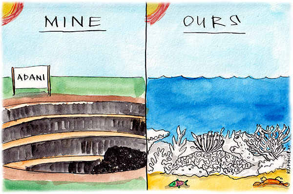 Fiona Katauskas cartoon portrays Adani mine alongside bleached and dying Great Barrier Reef. The headings for each panel read Mine and Ours respectively.