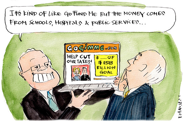 In this Fiona Katauskas cartoon Scott Morrison displays a 'Go Gimme' page to 'help cut our taxes'. He says it's like Go Fund Me but the money comes from schools, hospitals and public services.